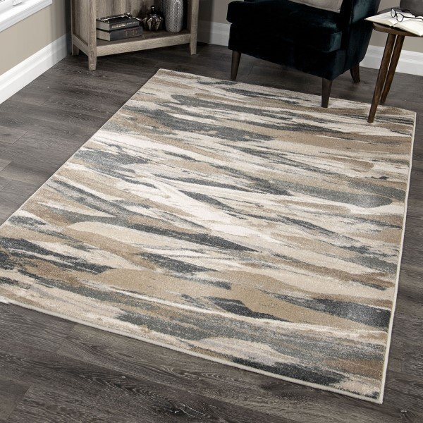 Brown, Taupe, Beige (9009) Abstract Area Rug