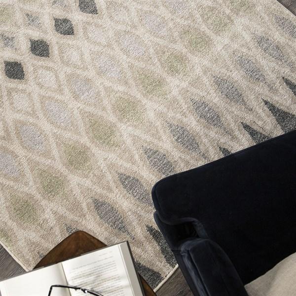 Beige, Grey (9012) Geometric Area Rug