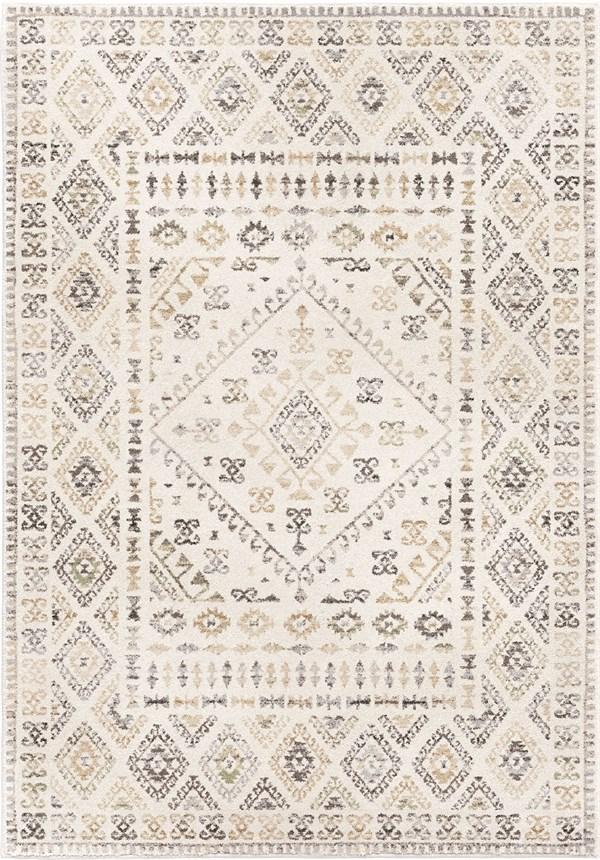 Ivory, Beige (9020) Geometric Area Rug