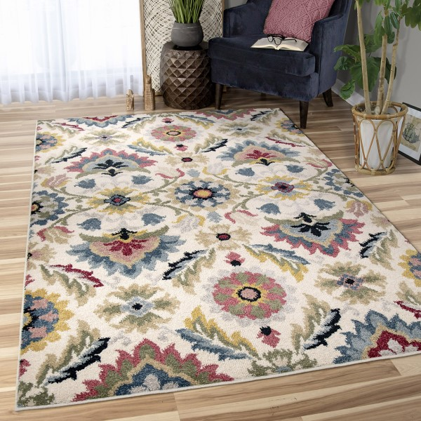 Off White, Tan, Blue Transitional Area Rug