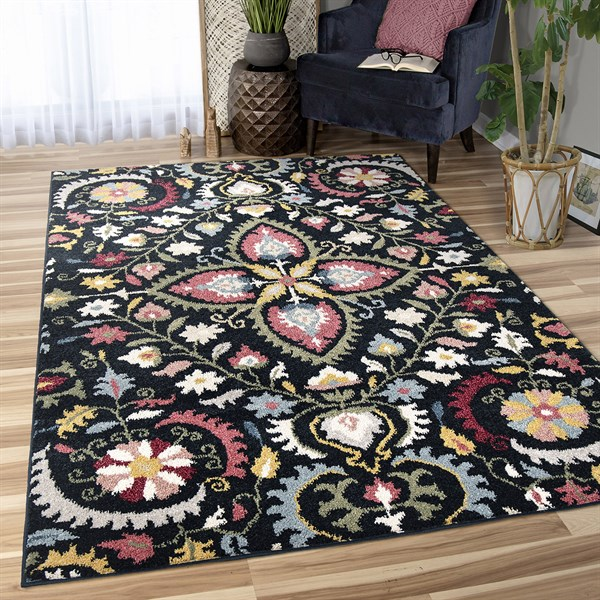 Navy, Green, Red Floral / Botanical Area Rug