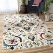 Product Image of Off White, Black, Green Floral / Botanical Area Rug