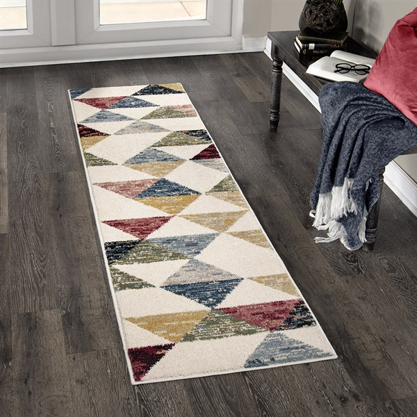 Off White, Red, Green Contemporary / Modern Area Rug