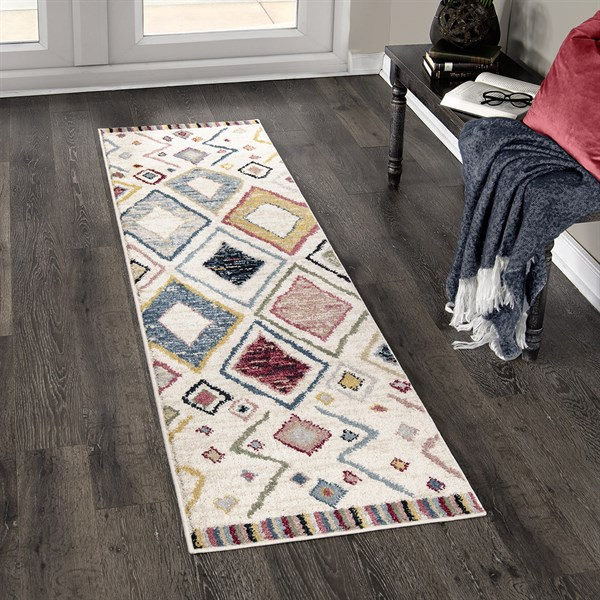 Off White, Cream Bohemian Area Rug