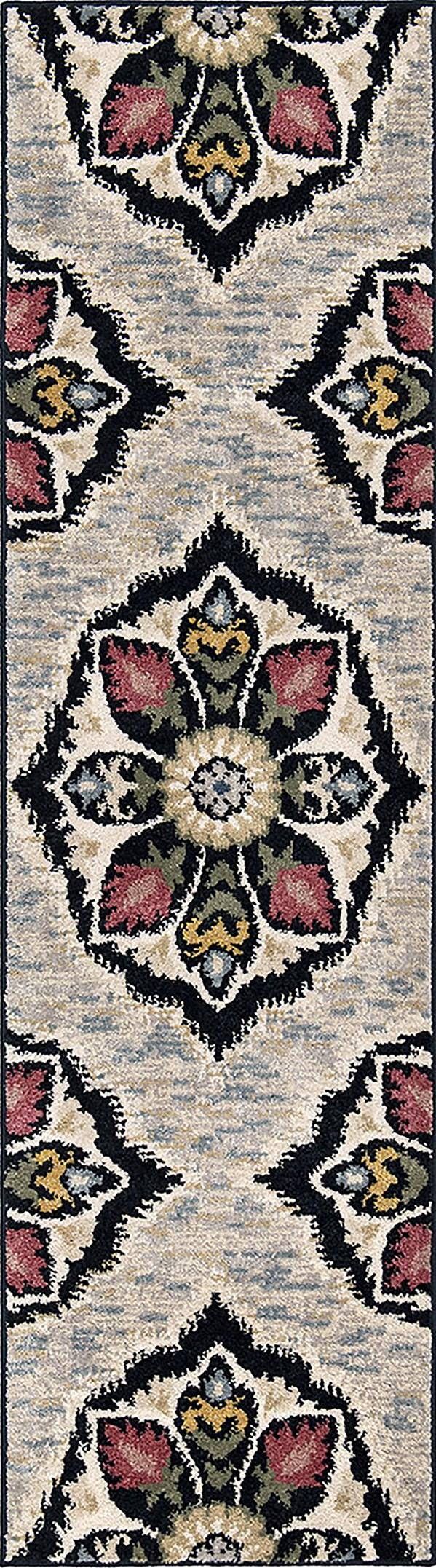 Grey, Black, Green Traditional / Oriental Area Rug