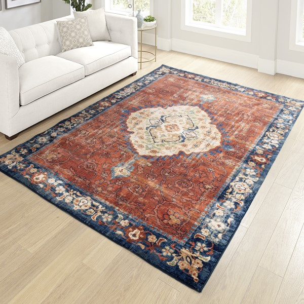 Red, Navy Transitional Area Rug