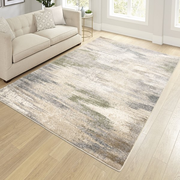 Beige, Grey Abstract Area Rug
