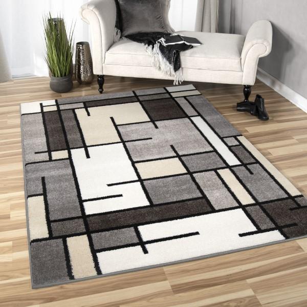 Grey, Beige, Ivory Contemporary / Modern Area Rug
