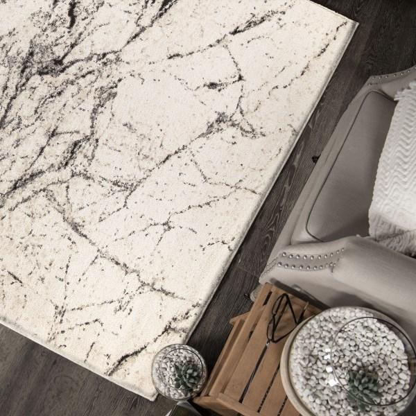 Off White, Silver, Gray (9303) Contemporary / Modern Area Rug
