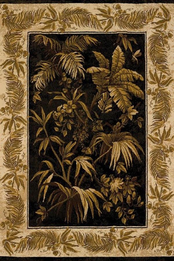 Black (550-30270) Floral / Botanical Area Rug