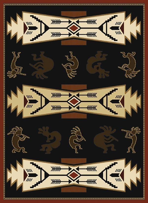 Black (550-26770) Southwestern / Lodge Area Rug