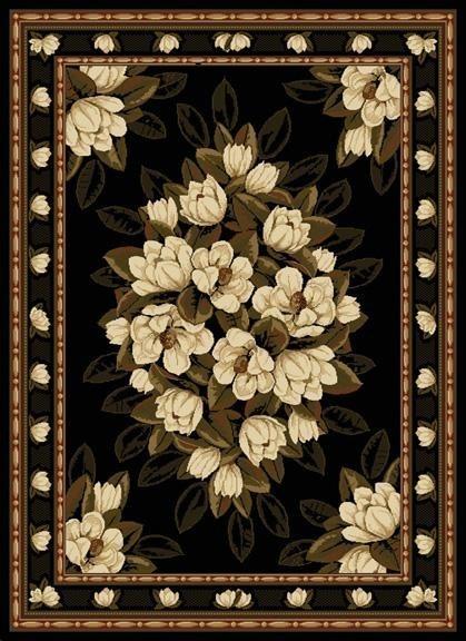 Black (550-31570) Floral / Botanical Area Rug