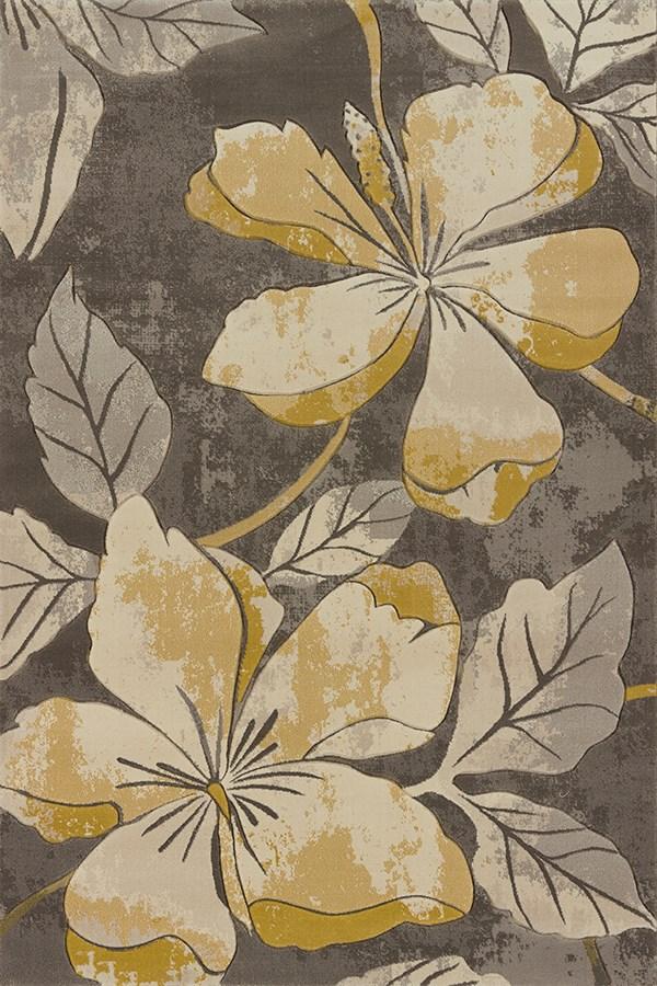 Grey, Beige (702-28872) Floral / Botanical Area Rug