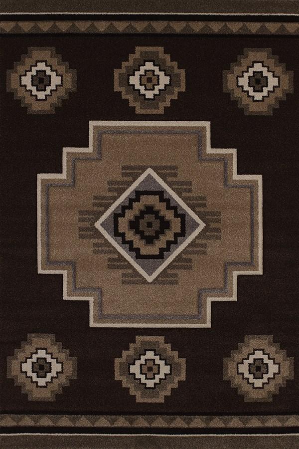 Brown (401-01250) Southwestern / Lodge Area Rug