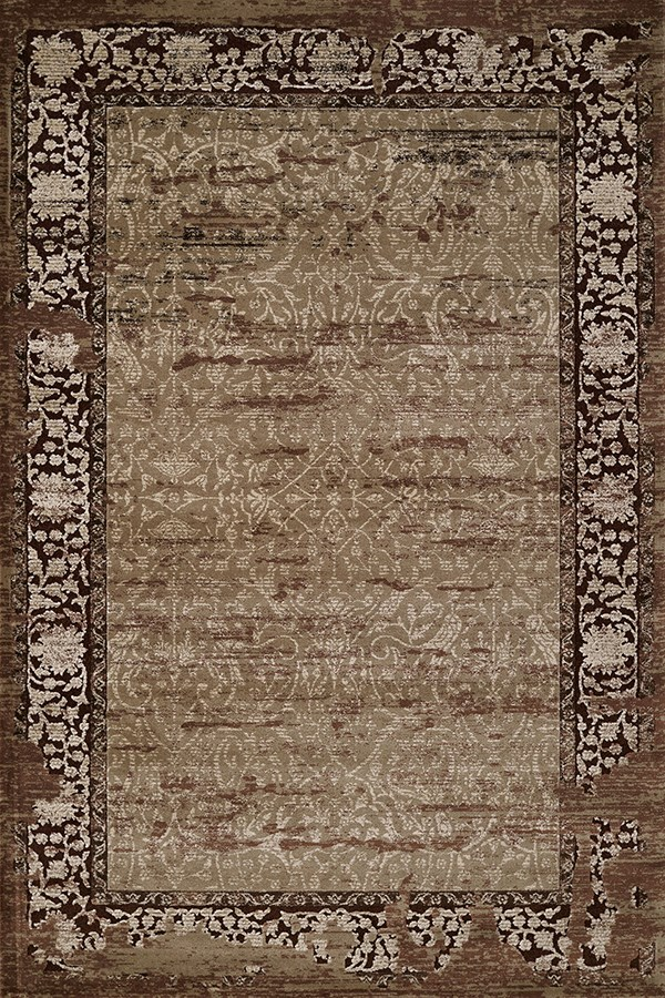 Light Brown, Ivory (1800-40252) Vintage / Overdyed Area Rug