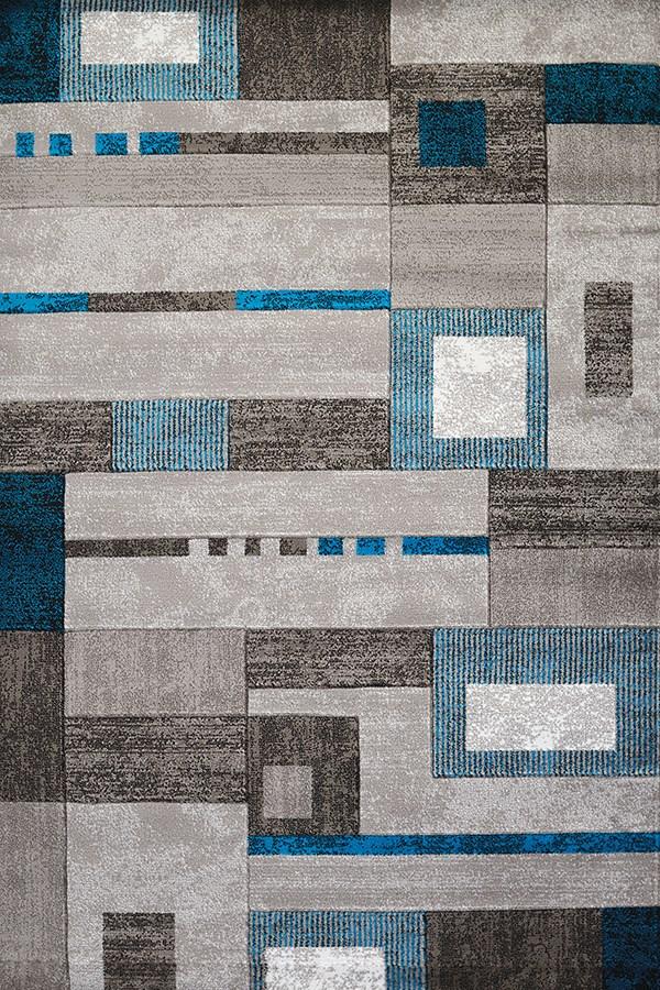 Aqua, Grey (710-00263) Contemporary / Modern Area Rug