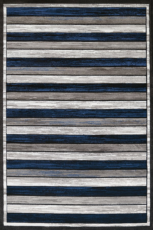 Denim Blue, Grey (710-00461) Striped Area Rug