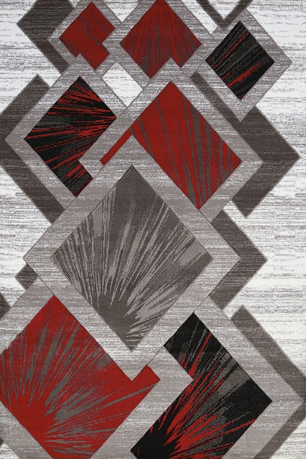 Scarlet, Grey (710-00631) Geometric Area Rug