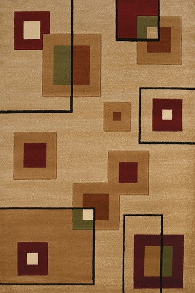 Burgundy, Tan (710-00934) Contemporary / Modern Area Rug