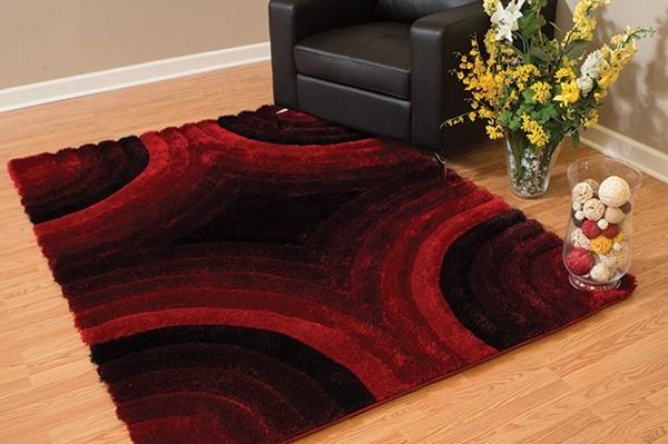 Red, Black (2100-20230) Shag Area Rug