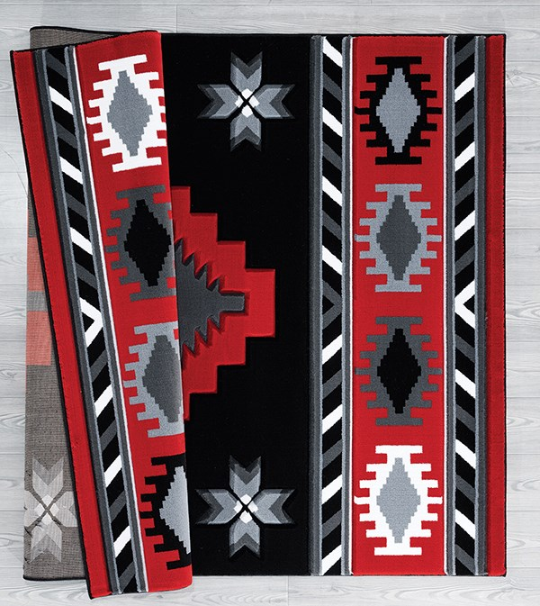 Red (2050-10430) Southwestern / Lodge Area Rug