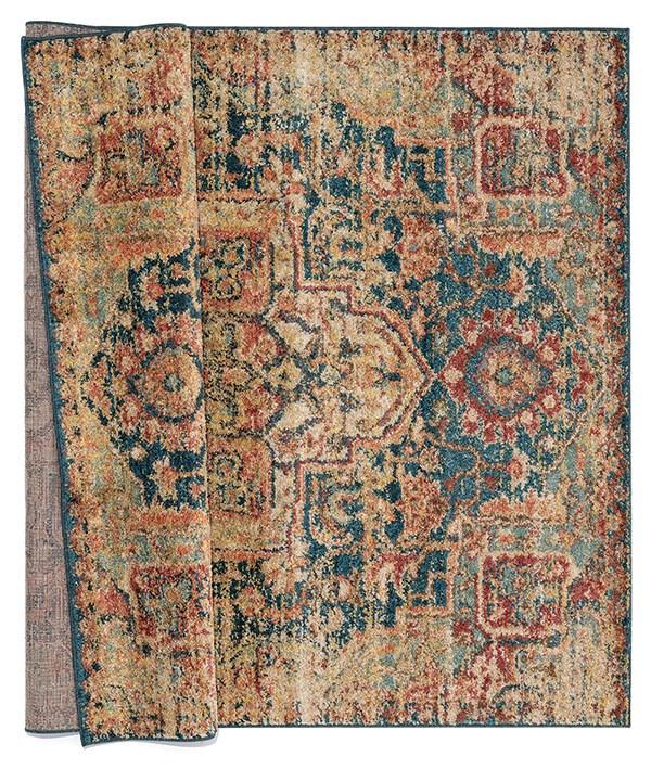 Blue, Rust (3801-30675) Vintage / Overdyed Area Rug