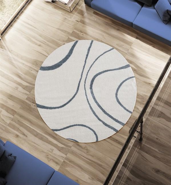 BlueGrey, Cream Contemporary / Modern Area Rug