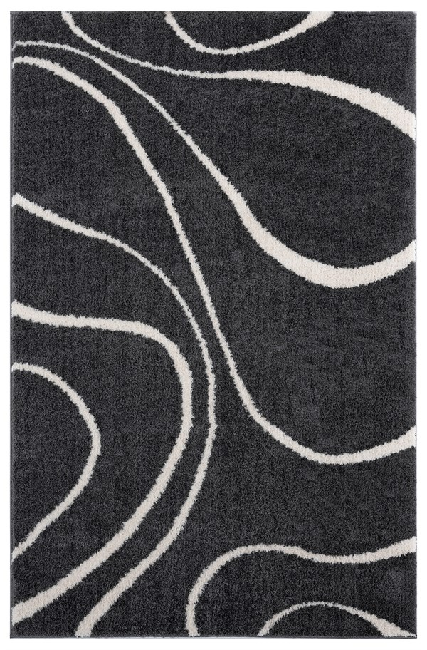 White, Charcoal Contemporary / Modern Area Rug