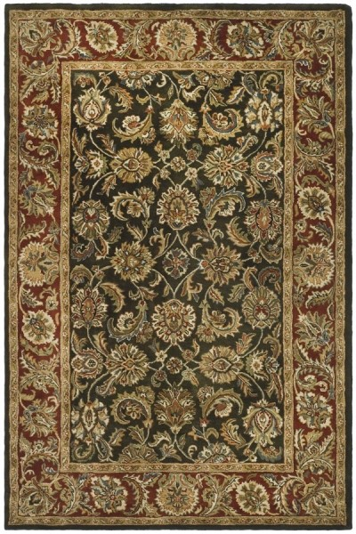 Dark Olive, Red (P) Traditional / Oriental Area Rug