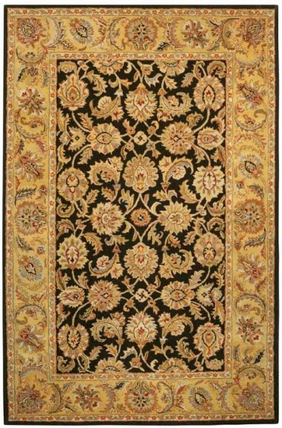 Black, Gold (B) Traditional / Oriental Area Rug