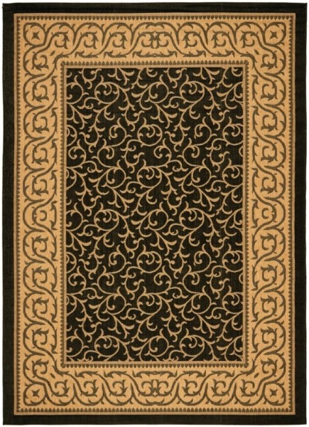 Black, Natural (46) Traditional / Oriental Area Rug
