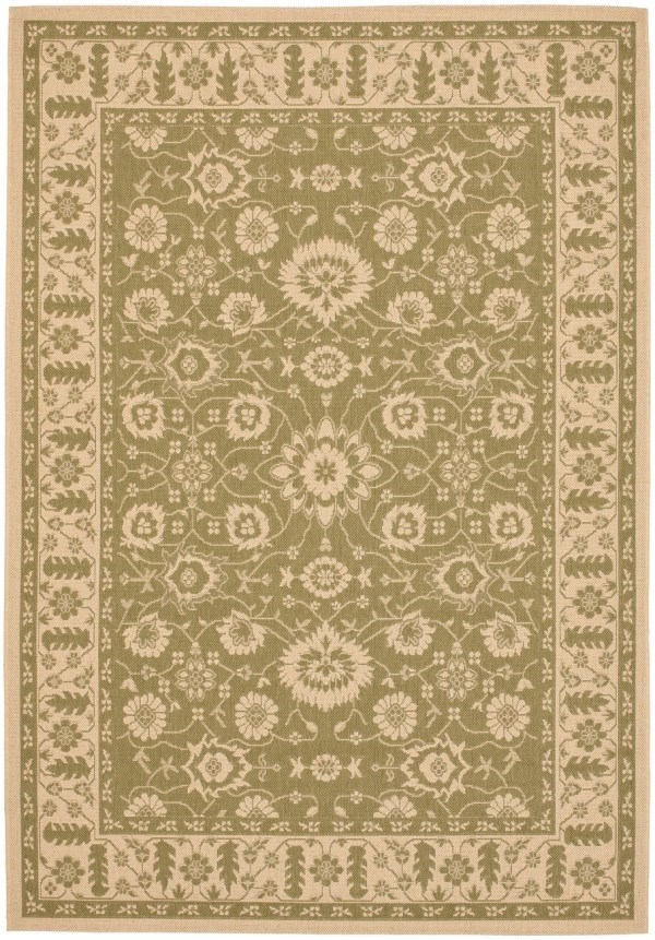 Green, Creme (24) Traditional / Oriental Area Rug