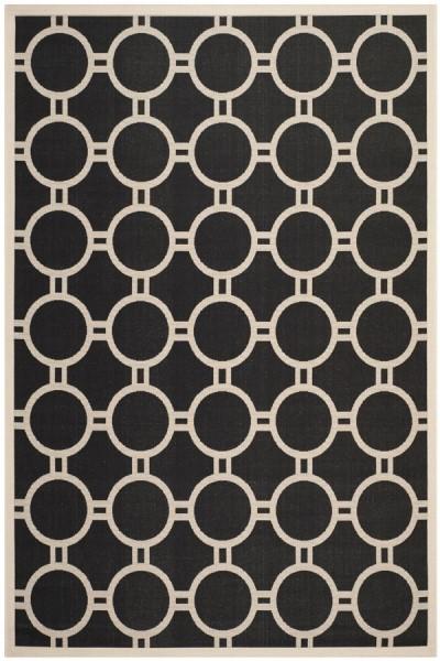 Black, Beige (266) Geometric Area Rug