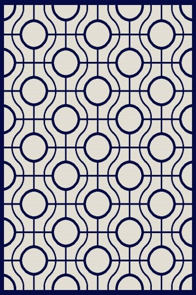 Beige, Navy (258) Contemporary / Modern Area Rug