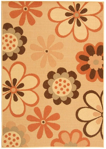 Natural, Brown, Terracotta (C) Contemporary / Modern Area Rug