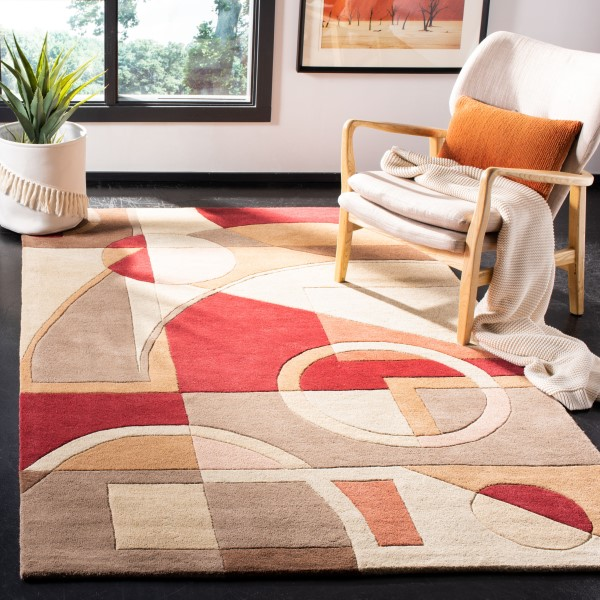 Brown, Beige (A) Geometric Area Rug