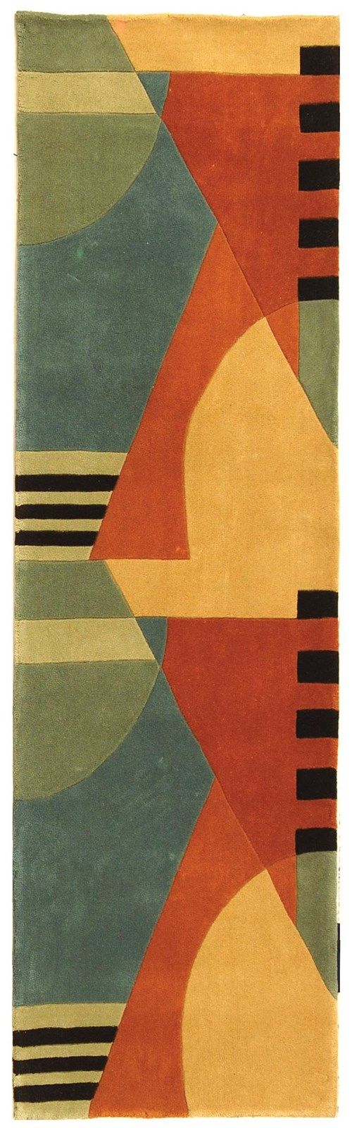 Gold, Red (A) Contemporary / Modern Area Rug