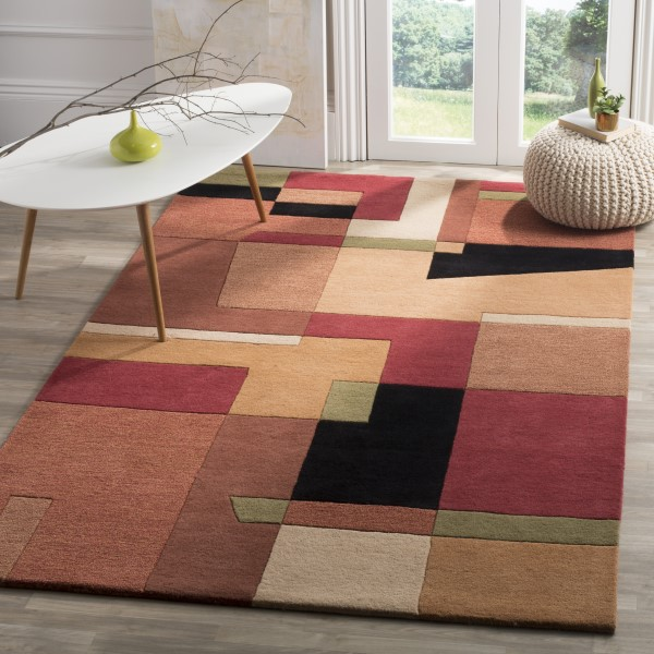 Red, Rust (A) Geometric Area Rug