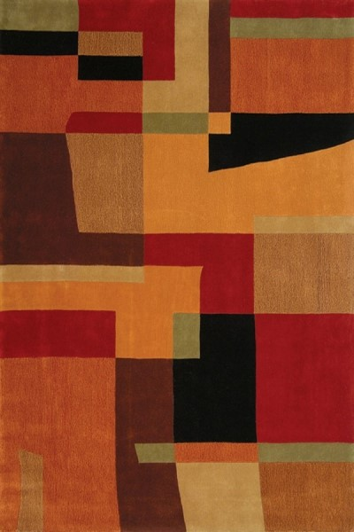 Red, Rust (A) Geometric Area Rug