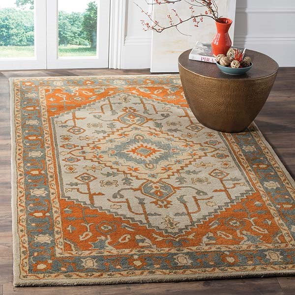 Light Blue, Rust (A) Traditional / Oriental Area Rug