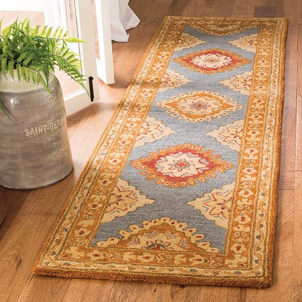 Blue, Rust (A) Traditional / Oriental Area Rug