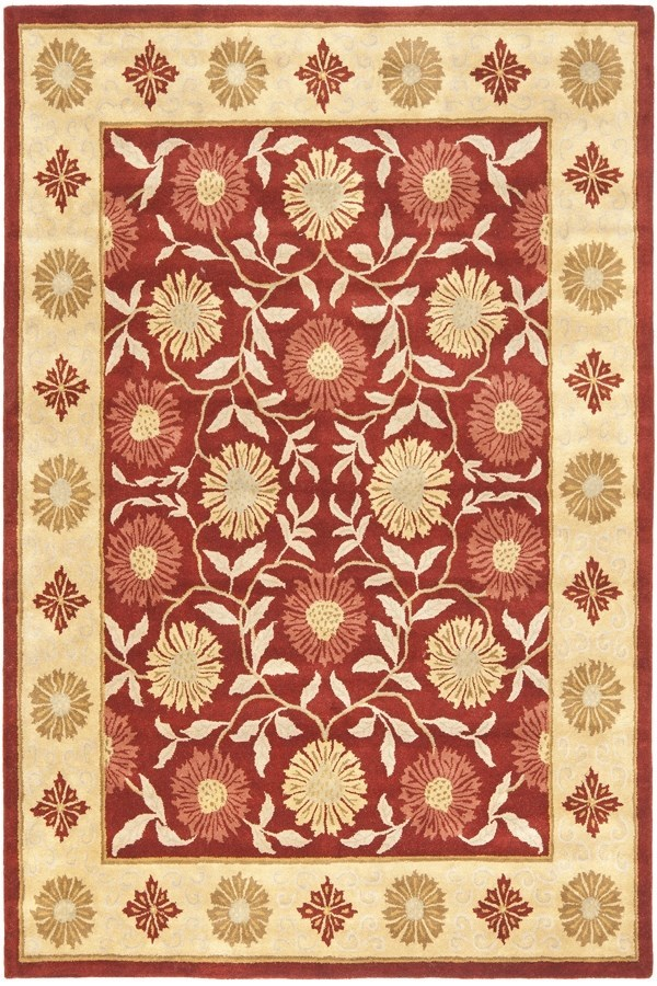 Red, Beige (A) Traditional / Oriental Area Rug