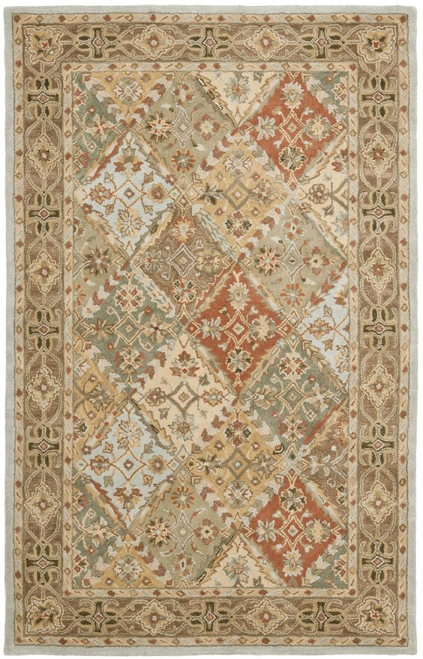 Light Blue, Light Brown (C) Traditional / Oriental Area Rug