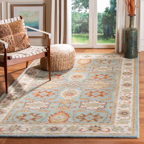 Light Blue, Ivory (A) Traditional / Oriental Area Rug