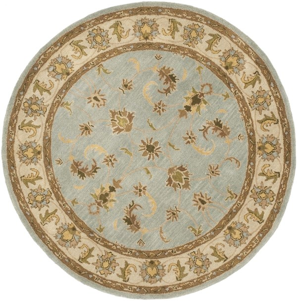 Light Blue, Beige (A) Traditional / Oriental Area Rug