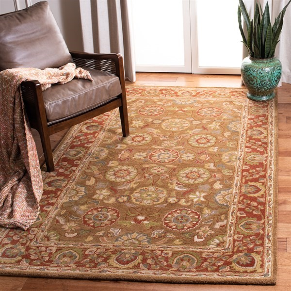Beige, Rust (A) Traditional / Oriental Area Rug