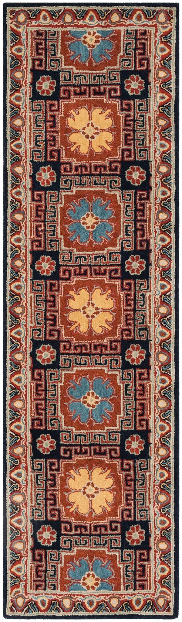 Navy, Orange (N) Traditional / Oriental Area Rug