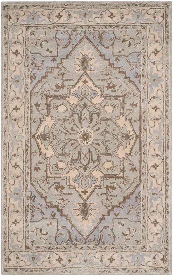 Beige, Grey (A) Traditional / Oriental Area Rug
