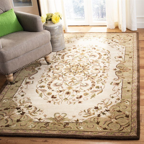 Beige, Green (A) Traditional / Oriental Area Rug