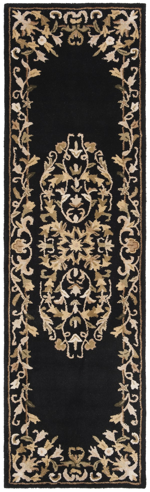 Black, Ivory (B) Traditional / Oriental Area Rug